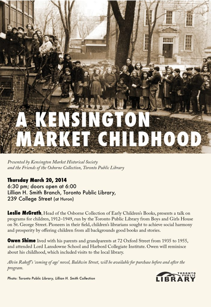 Flyer for A Kensington Market Childhood event