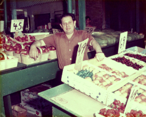 Zoli at the store 1965 or 1966. Zimmerman's gave up selling fruit and meat in 1990