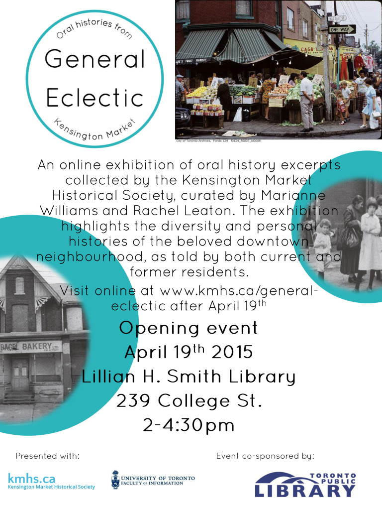 Kensington Market Speaks - an online exhibition of oral history excerpts from the collection of the Kensington Market Historical Society