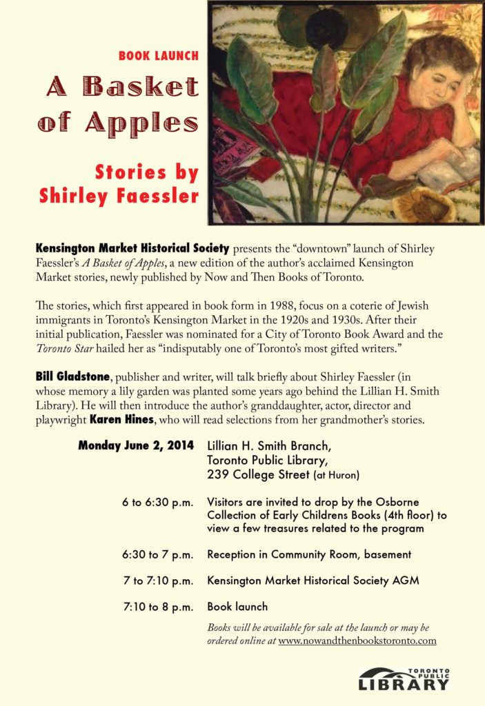 Flyer for A Basket of Apples book launch